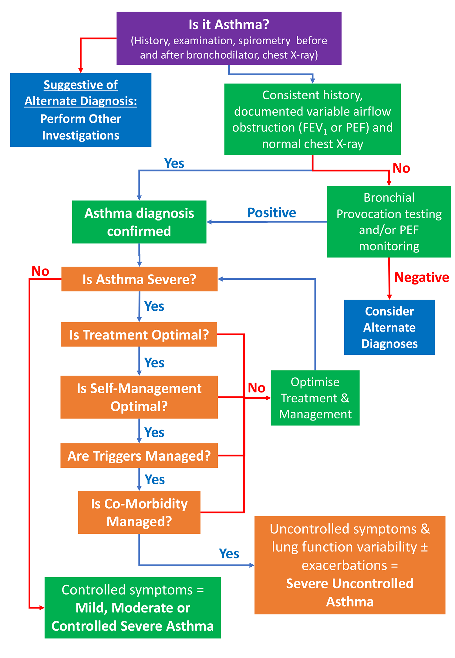 algorithm for severe asthma assessment and severe asthma diagnosis