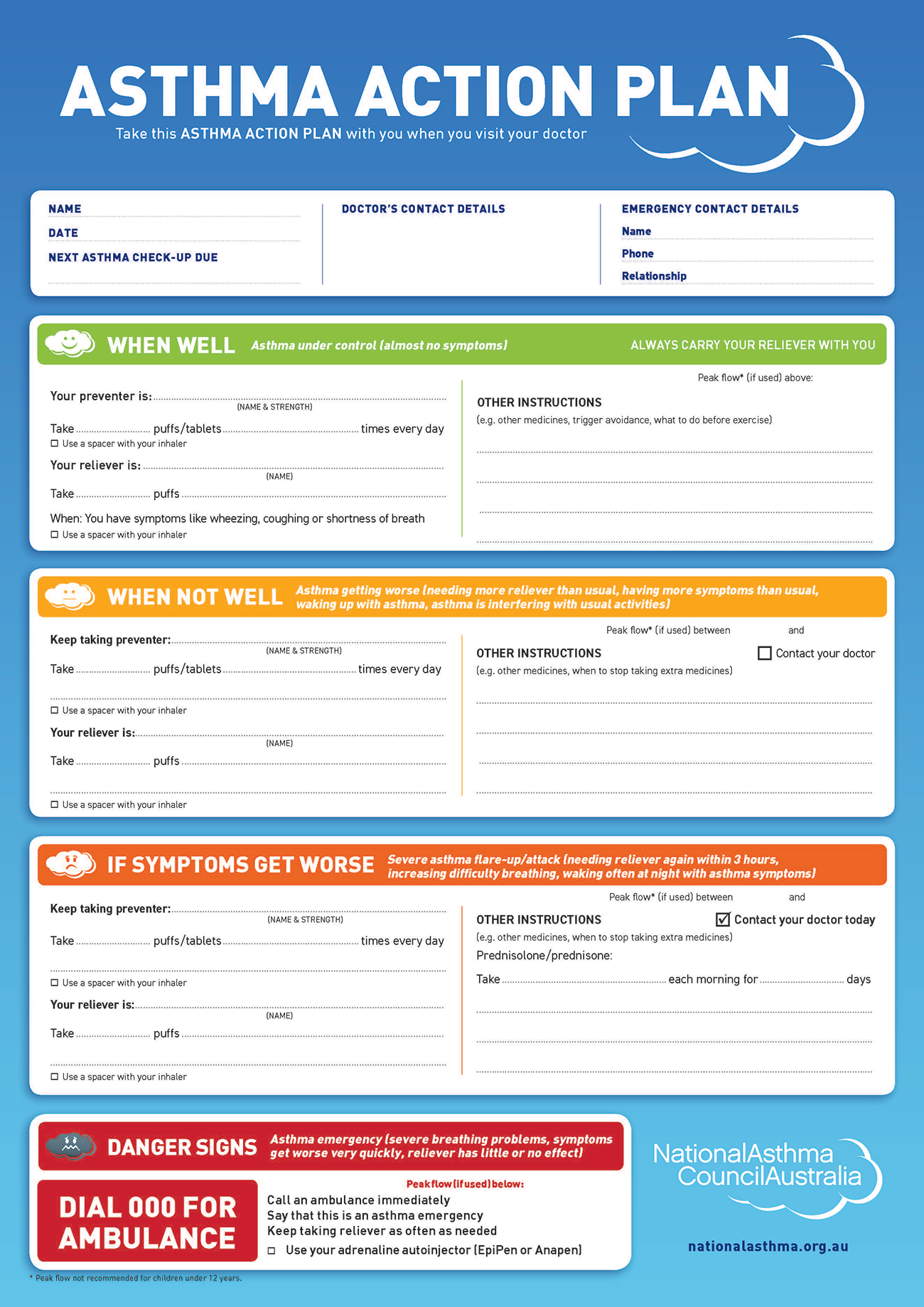 asthma action plan form